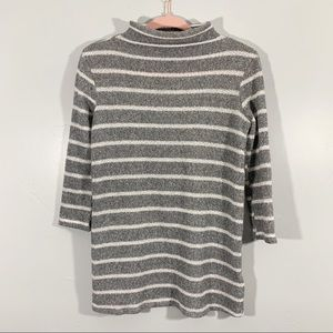BDG | UO | Gray White Stripe High Neck Sweater Top